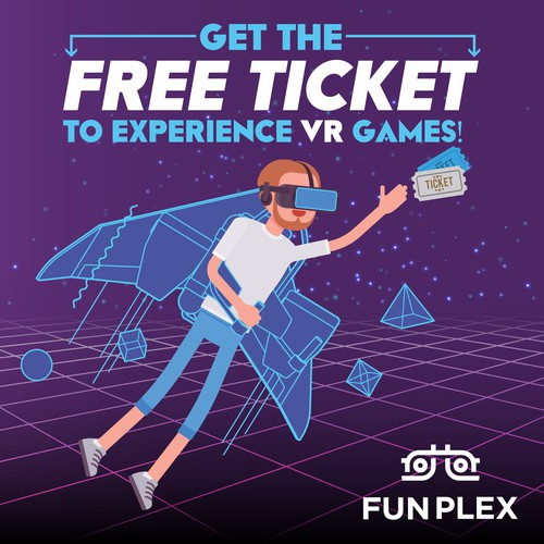 Billboard for the storefront of the VR park