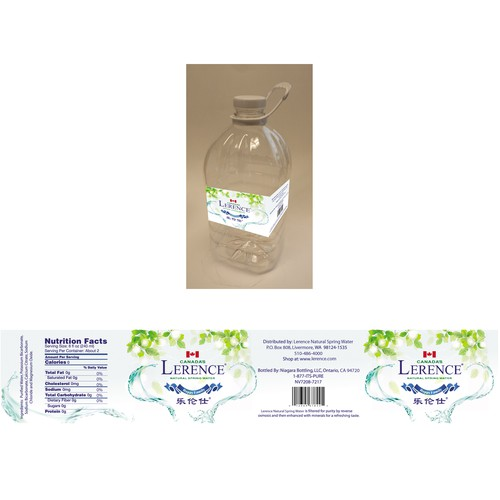 Create a clean,simple and eye refreshing label for Lerence Natural Spring Water!