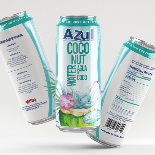 100% Coconut Water Can Design