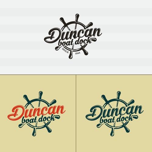 Superb vintage emblem boat dock logo.