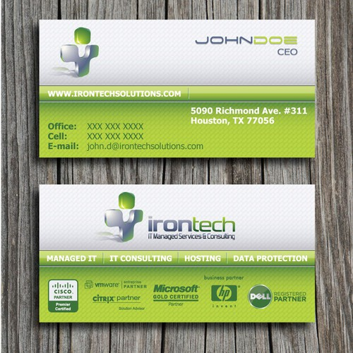 Business card design for IT Consulting company >> IronTech