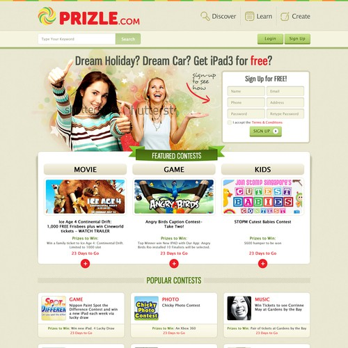 Help Prizle.com with a new Homepage Design