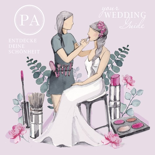Bride Make up artist. Wedding illustration