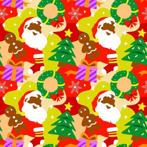 Black Santa Christmas Theme Pattern