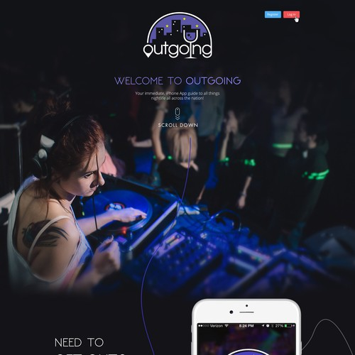 Landing Page Design for a Mobile Night Life App