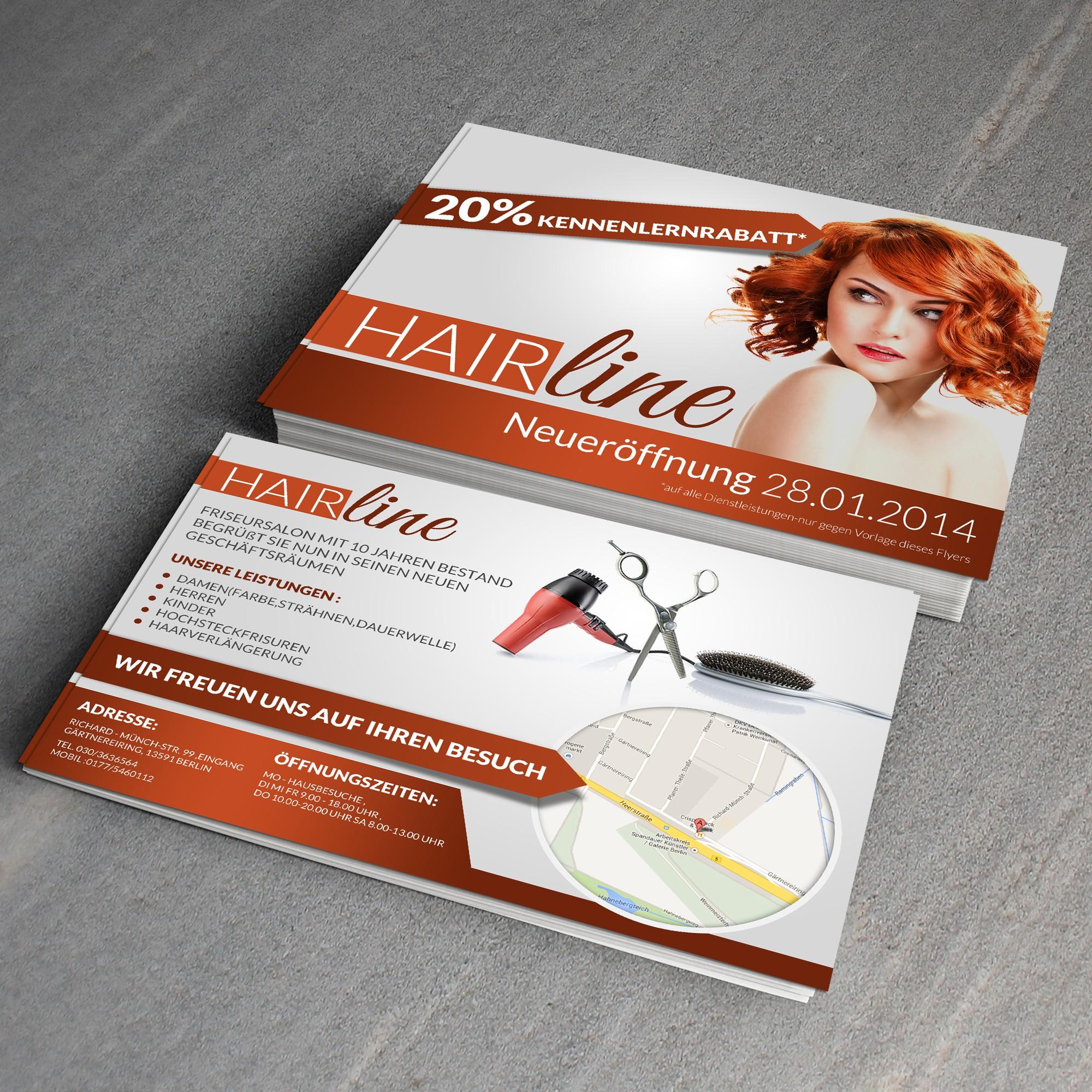 Auffallendes Flyerdesign für Neueröffnung eines Friseur