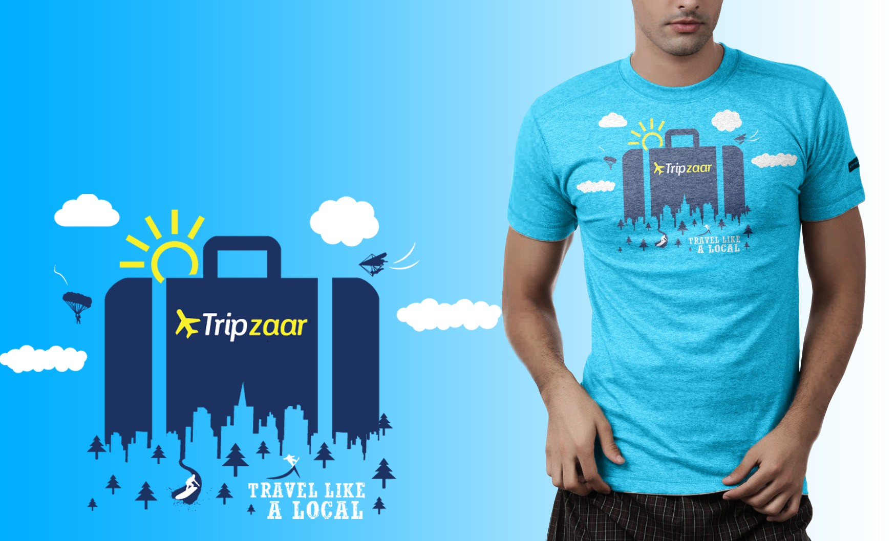 Design a company t-shirt for a hot travel startup.