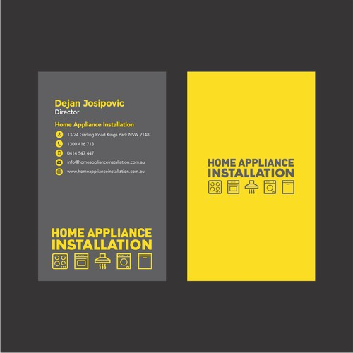 Business Card Home Appliance Installation