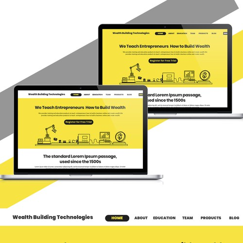 Robotic style flat landing page for Money building compony