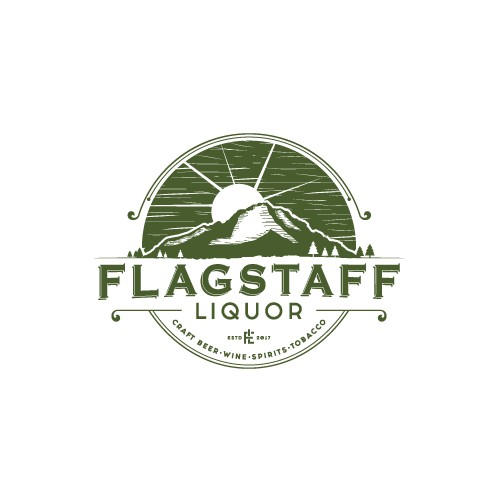 Vintage inspired logo for FLAGSTAFF liquor store