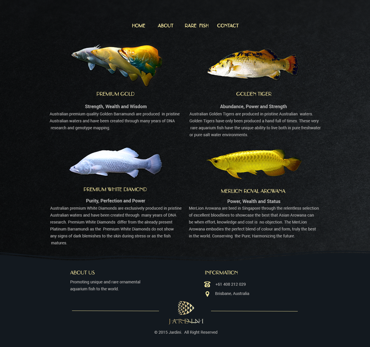 'Rare Fish' page for website