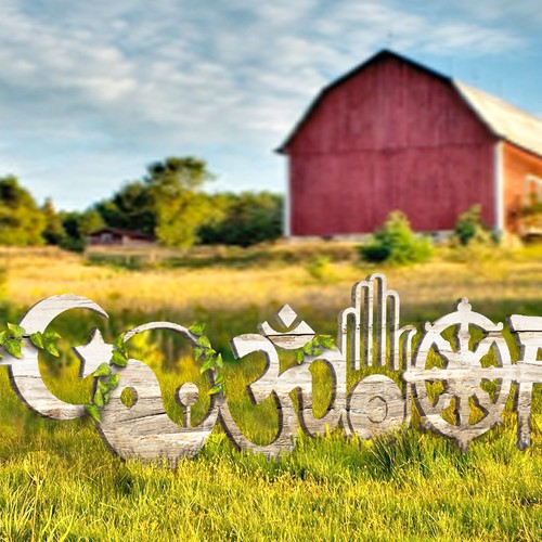 Create a subtle picket fence drawing that includes world religious symbols