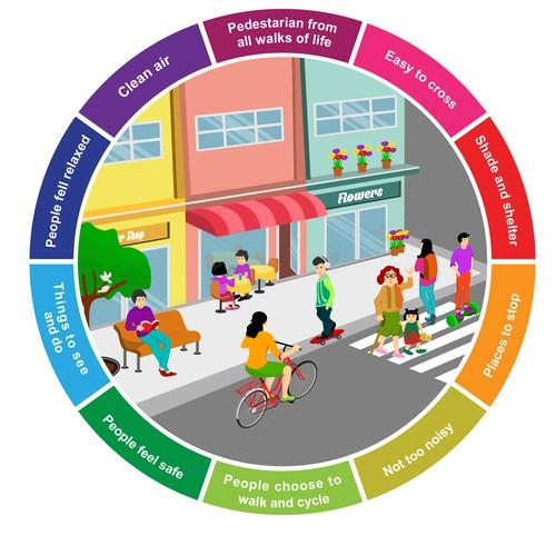sleek illustration healthy street needed