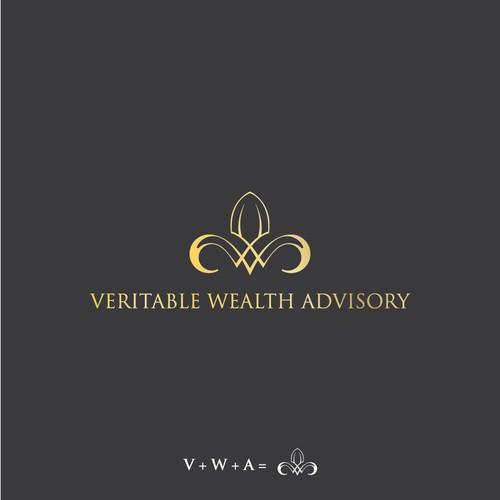 VWA in luxurius concept. Logo for Wealth advisor.