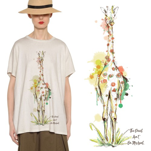 Boho Giraffe Drawing for T-shirt