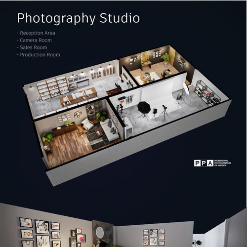 3D rendering of a photography studio