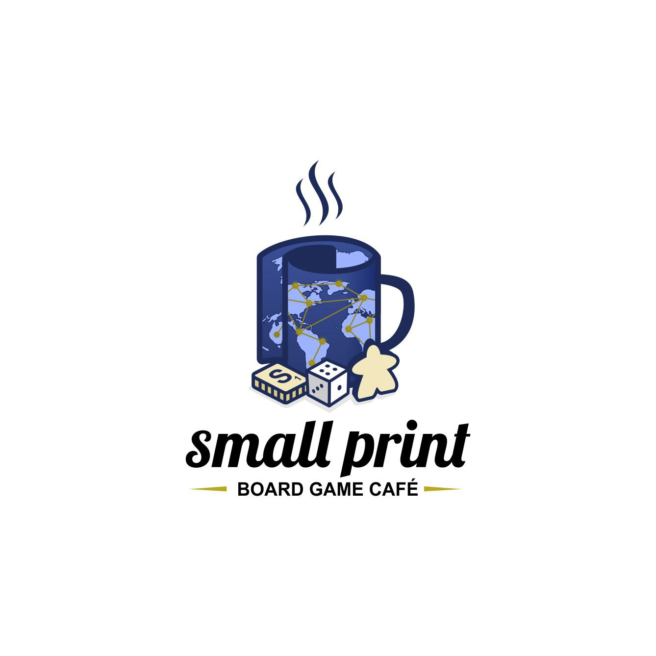 "Create a cool and hip logo for start-up ""small print board game café"""