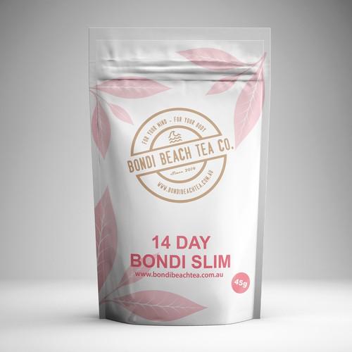 Tea pouch design for Bondi beach tea