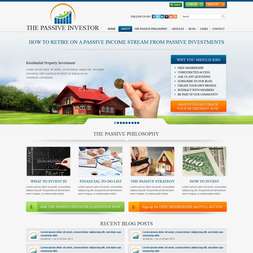 THE PASSIVE INVESTOR needs a new website design