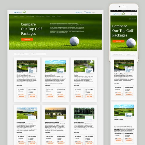 Golf Package Shopping Experience landing page