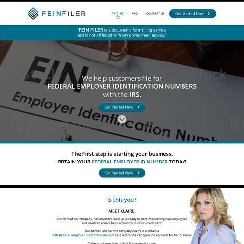 FEIN Filer needs a powerful and modern landing page.