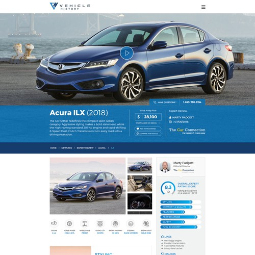 WINNING Design of landing page for automotive site