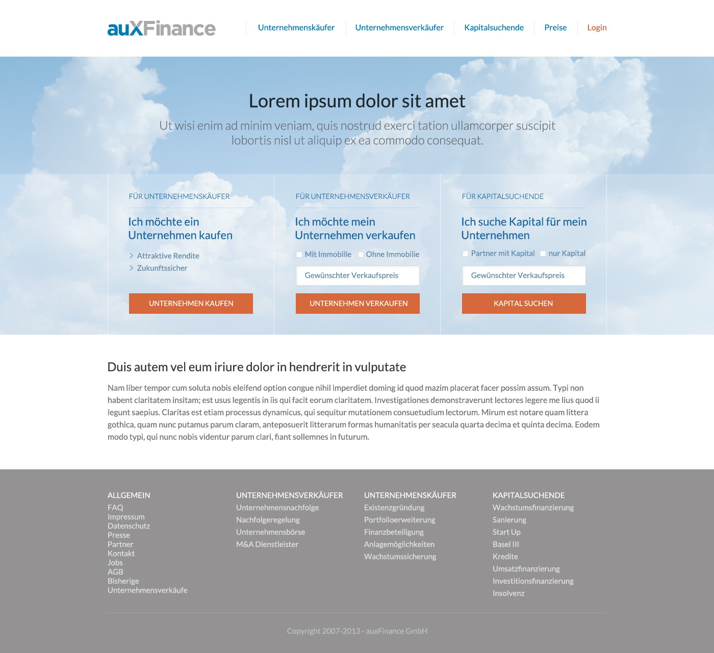 Create the next website design for auXFinance