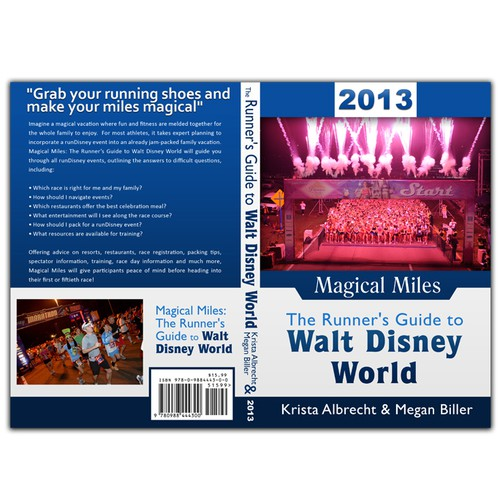 Create the next book or magazine cover for Magical Miles: The Runner's Guide to Walt Disney World