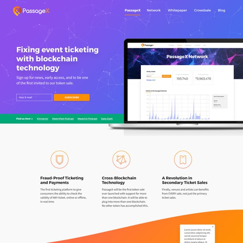 Website design for PassageX: a blockchain-powered event ticketing platform!