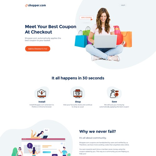 Landing page design for Shopper.com