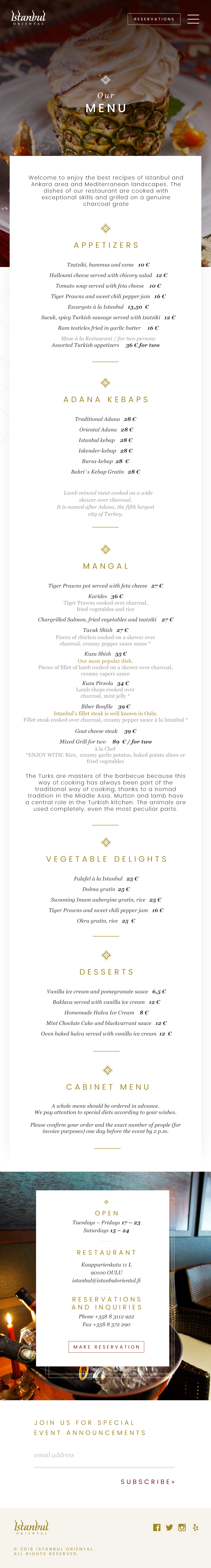 Website redesign for high-end turkish-style restaurant