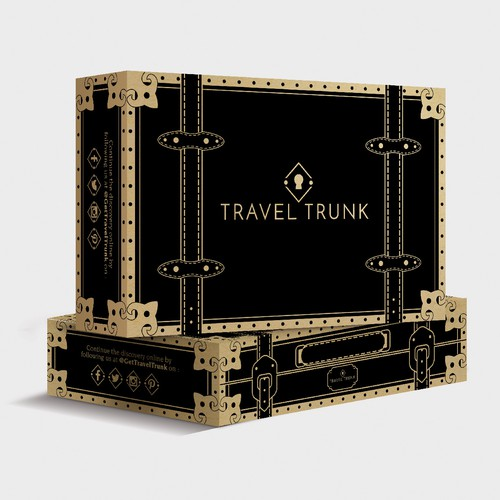Design a shipping box that looks like vintage luggage for female travel brand.