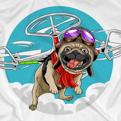 Pug Flying Drone T-Shirt