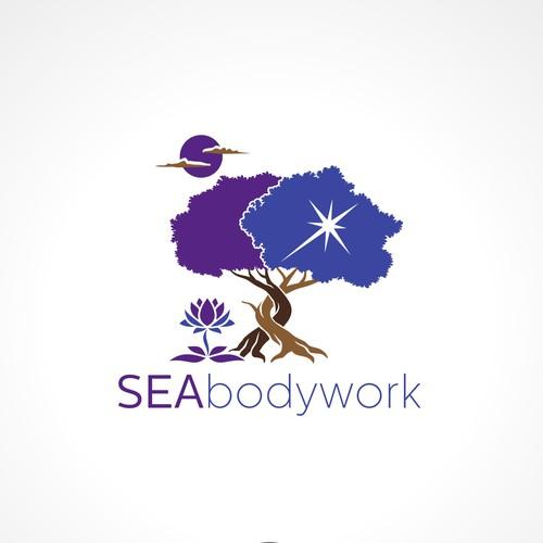 Interwoven Bodhi Tree Logo for healing center in Thailand