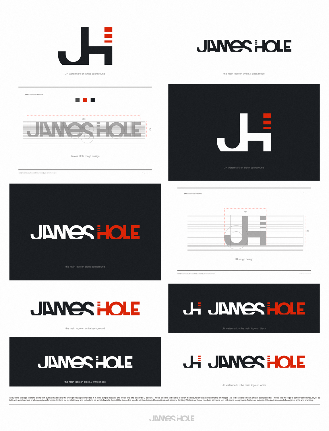 logo for James Hole photography Bold,clean and awesome!