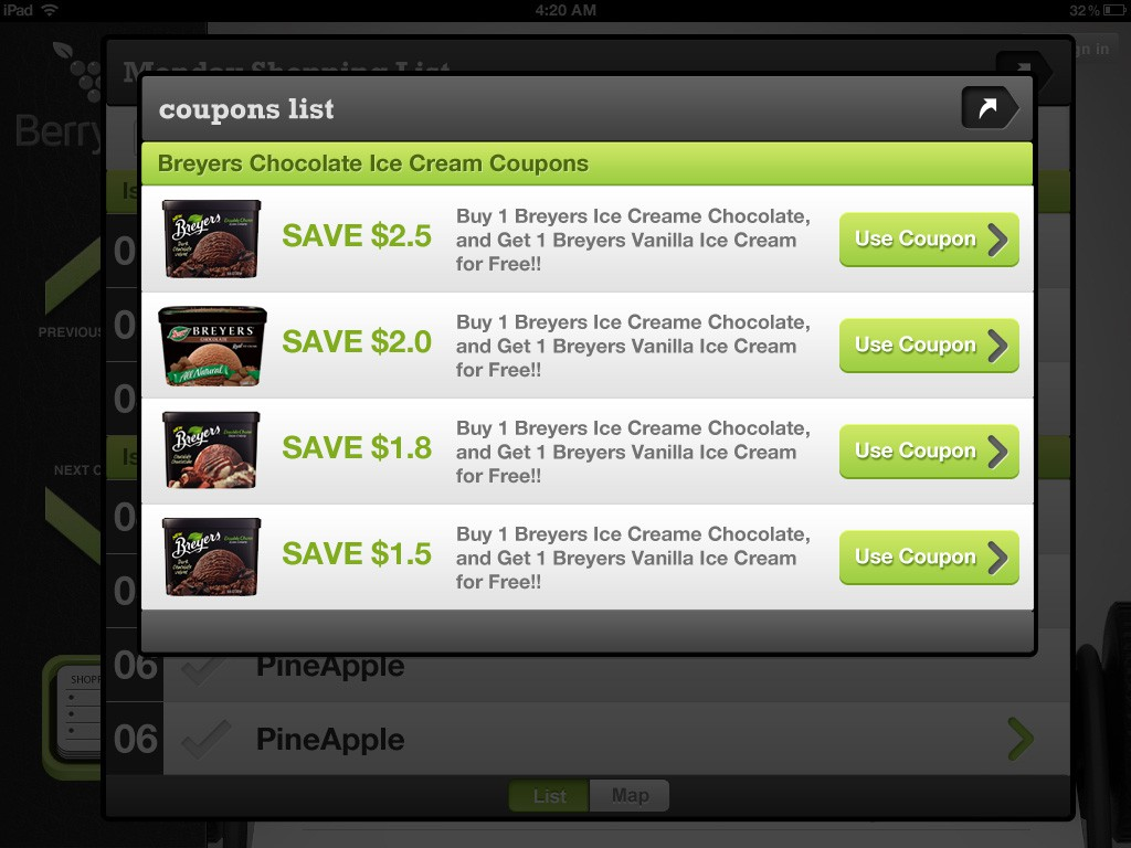 Coupon and Shopping List ipad App Design
