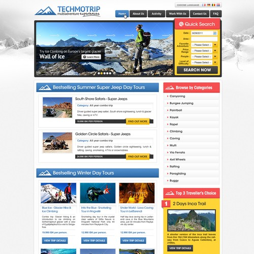website design for Techmotrip: MultiAdventures Portal WebDesign