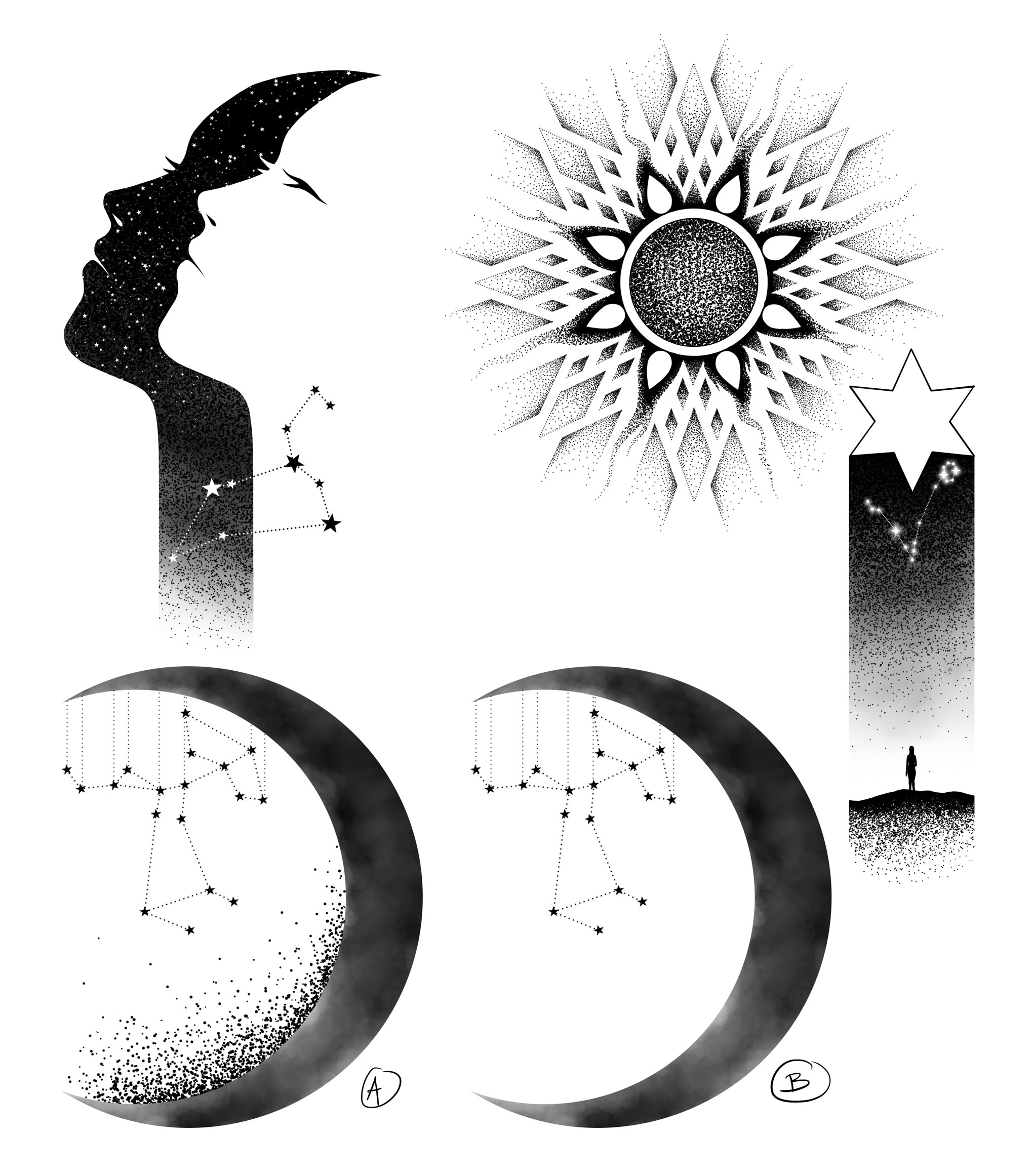 Celestial Sky with astrological imagery.  Focus on line, some dotwork, black only.
