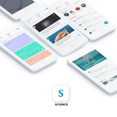 Modern and minimal design for a Science community app