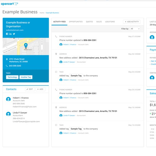 Design for a CRM page