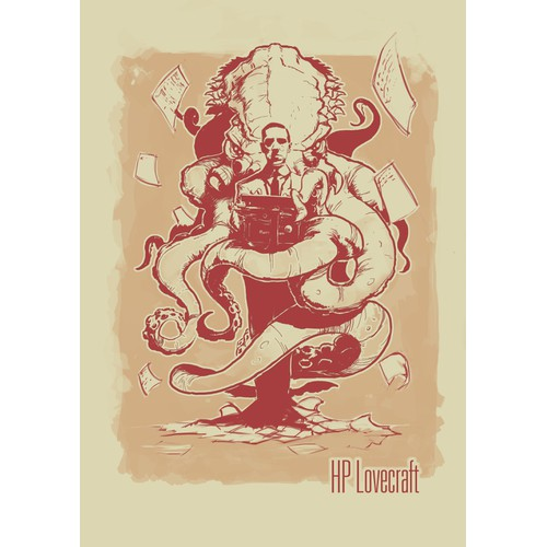 H.P. Lovecraft vintage T-shirt design