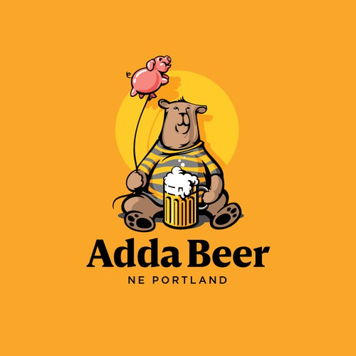 Bear, beer and pink pig balloon