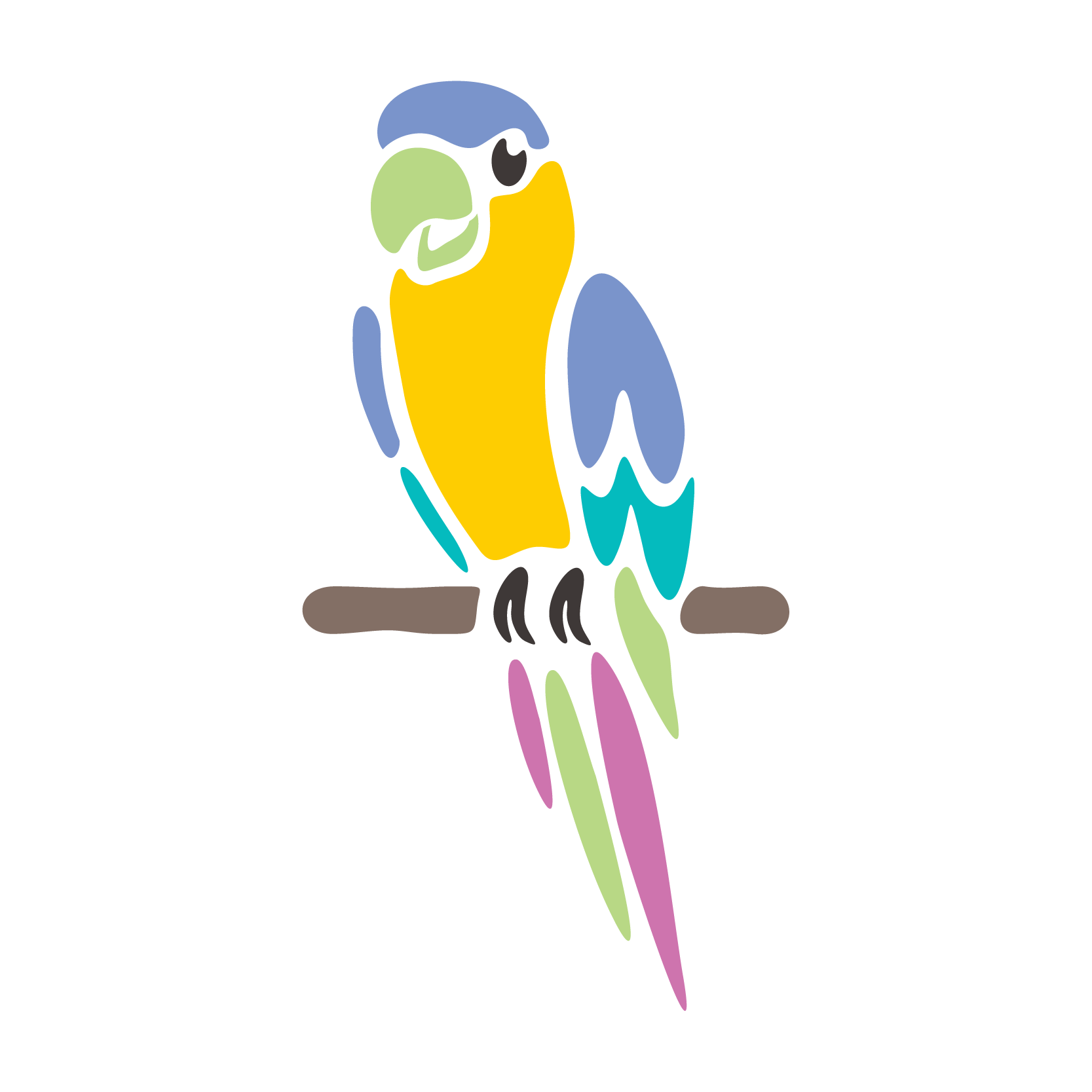 Draw a parrot with a character that will live on a mobile screen