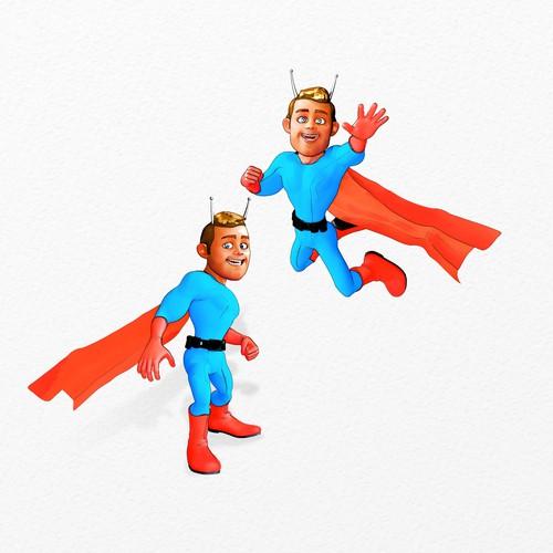 Chat Bot Super Hero Mascot