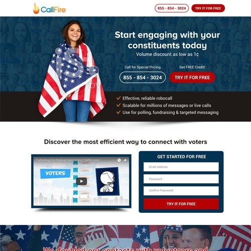 Landing Page For The political Platform - CallFire