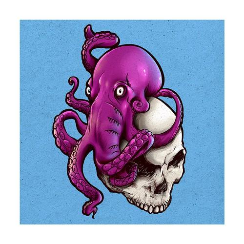 Skull and Octopus Illustration