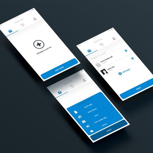 UI concept for a fax-sending app