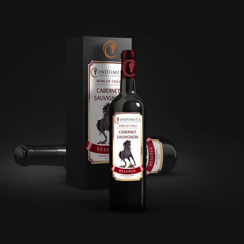 """Crea una etiqueta para la línea de reserva de vino """"Indómita"""""""