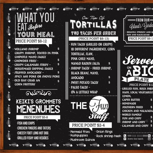 Create a capturing menu design for new rustic restaurant in Maui, Hawaii!