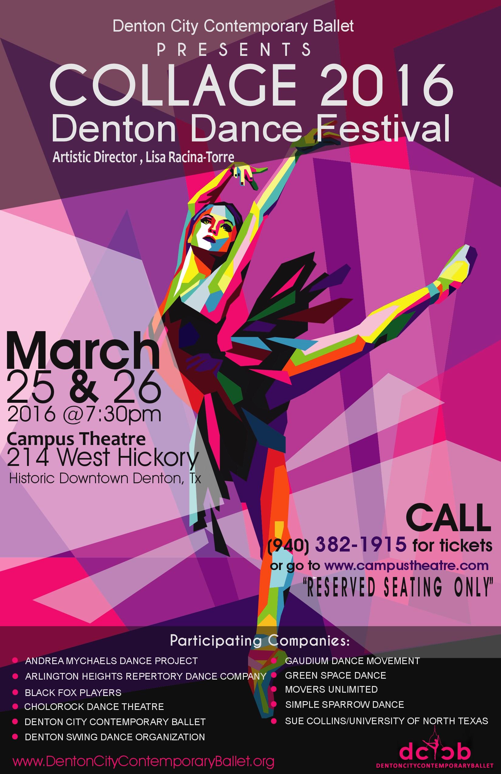 Create a striking poster design for COLLAGE Denton Dance Festival!